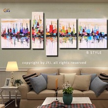 Vivid Color 5pcs/set JYJ ART New York  Pic Hand-painted Modern Abstract Oil Painting On Canvas Wall Art Gift No Framed  Z011