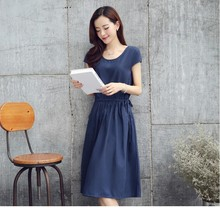 2016 office lady working soft linen dress long causal girls beach nice Office  dress navy blue red plus size XXL M clothing#E198