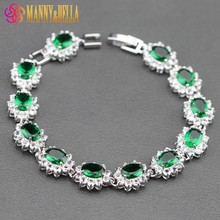 Sterling Silver Flower White Crystal&Green Created Emerald Bracelet Health Fashion  Jewelry For Women Free Jewelry Box SL124