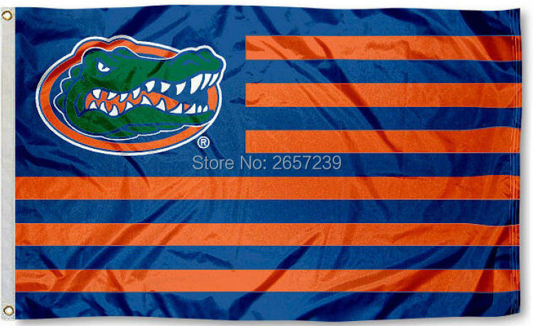 Florida Gators Striped Flag 3x5FT NFL banner150X90CM 100D Polyester brass grommets custom flag, Free Shipping(China (Mainland))