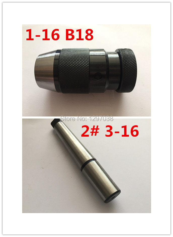 1PCS Spanner locking drill chuck (1-16)B18 and 1pcs MT2 3-16mm Connecting rod combination , lathe, machining cente<br>