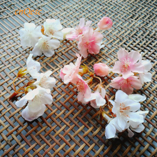 Small peach blossom artificial flowers flower buds Silk flower for sinamay fascinator Bridal hair accessory Home Decor Wedding(China)