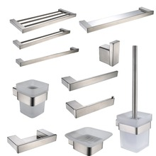 Brushed Finish SUS 304 Stainless Steel Bathroom Hardware Set Paper Holder Toothbrush Holder Towel Bar Bathroom Accessories(China)