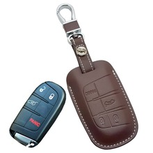 Leather Car Key Fob Cover Case for Jeep Grand Cherokee Longitude for Dodge JCUV Journey Dart Key Chain Chrysler Auto Accessories