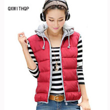 Autumn and winter sleeveless jackets women 2017 new Women Vest short slim women down cotton-padded jacket female vests(China)