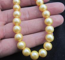 Hot sell AAA south sea 10-11mm gold natural pearl necklace 19 inch choker