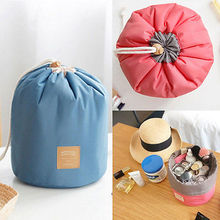 New Arrival Barrel Shaped Travel Cosmetic Nylon Bag High Capacity Drawstring Elegant Drum Wash Bags Makeup Organizer Storage Bag