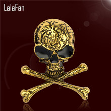 Vintage Skeleton Pirates Skull Brooches For Women & Men Dress Scarf Accessories Jewelry Antique Gold C Brooch Pins F138