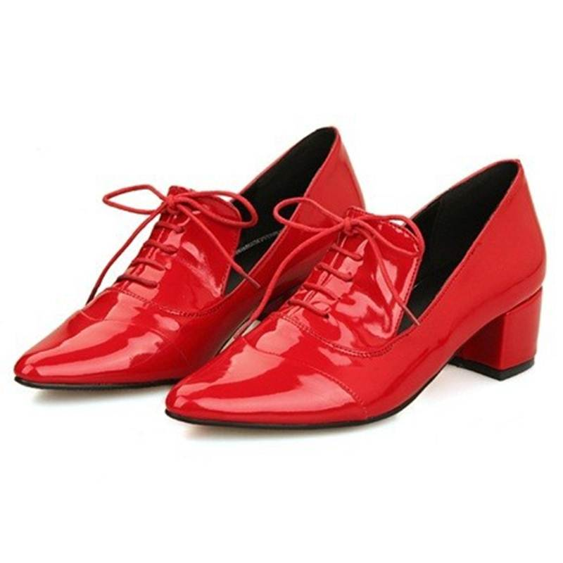 Zapatos mujer new cool tip design women flat shoes lace up sapatos femininos black white red loafers in the spring of 2015<br><br>Aliexpress