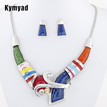 African Jewelry Set Crystal Pendant Statement Necklace Set Wedding Jewelry Set For Bridal Rhodium Color Enamel Jewellery Sets(China)