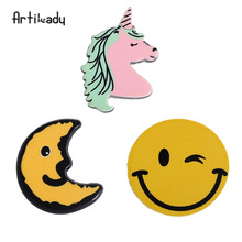 Artilady moon emoji unicorn brooch set pins acrylic brooches for women jewelry for the scarf jacket badgets Christmas gift(China)