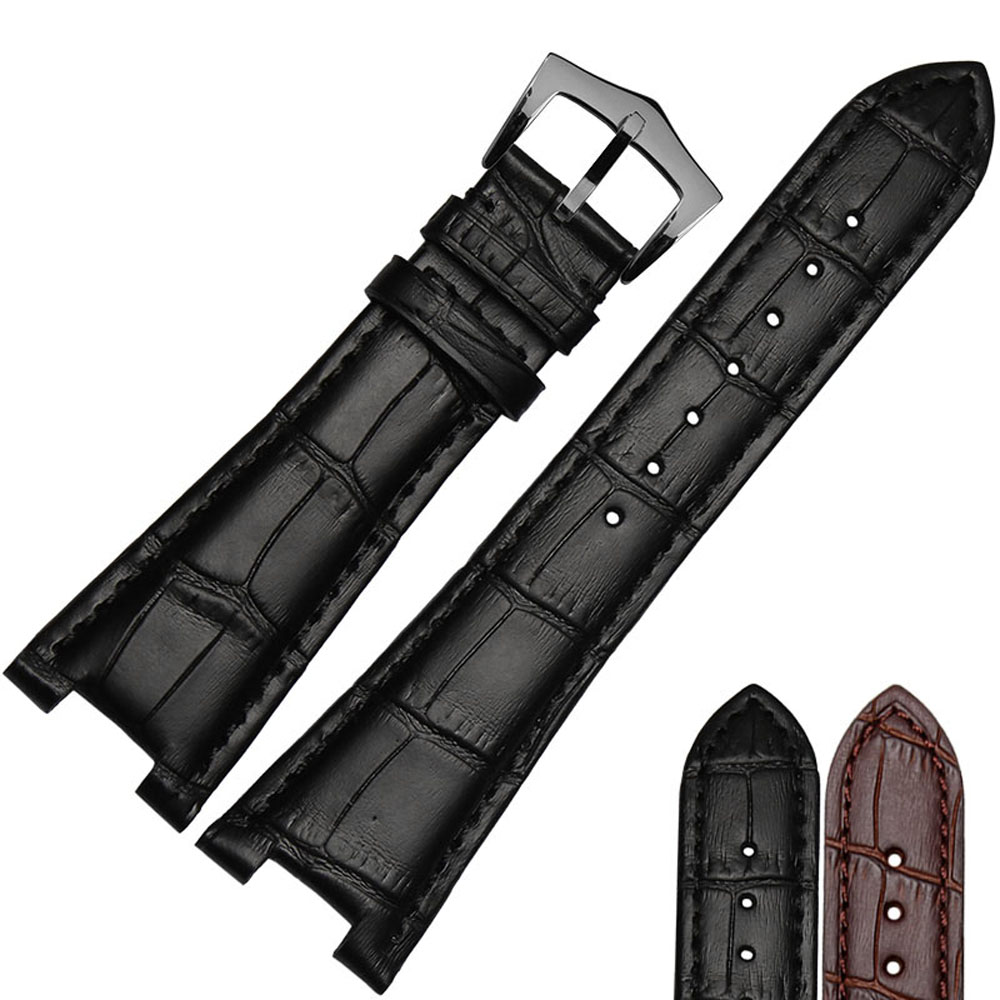 NESUN  25mm Calfskin Leather Watch Band Suitable For Mens Patek Philippe Watches Brown/Black Free Shipping<br>