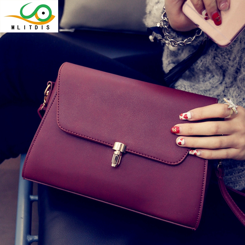 MLITDIS 2017 new Shoulder Bag Messenger Bag Handbag bag bag leisure square female fashion fabric grey black red leather PU<br>