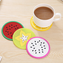 Silicone coasters colorful jelly fruit color fruit shape creative  coaster placemat hello kitty kitchen colchoneta piscina
