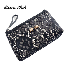 Lace Design Cosmetic Bags Women Daily Use Makeup Bags For Girls Fashion Bow-Knot Female Zipper Cosmetics Bag(China)