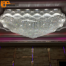 luxury design hotel lobby large crystal chandeliers ceiling LED light AC110V 220V lustres project indoor lighting(China)