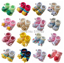 12 pairs/lot Baby Socks With Animal Baby Outdoor Shoes Baby Anti-slip Walking Sock Children Stock Kid's Gift For 0-18month