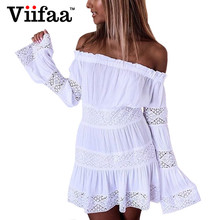 Buy Viifaa White Shoulder Cute Beach Dress Women Long Sleeve Summer Lace Dress Cotton Short Sexy Dresses for $15.98 in AliExpress store