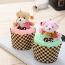New Arrival 1 PCS Creative Lovely Mini Bear Cup Cake Towel Cotton Hand Towel Face Towel Party Gifts(China)