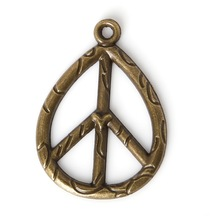 Top Quality 3pcs/lot 25*35mm Antique Bronze Plated Zinc Alloy Metal Charms Peace Symbol Pendants For Jewelry Making Findings(China)
