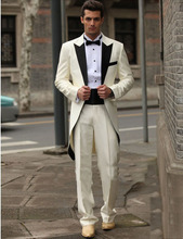Free EMS / custom Italy western wedding groom dress style long person / Deluxe Ivory men's suit / men's dress, best man dress(China)