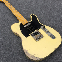 Hot Handwork Aged Relic Electric Guitar with Ash Body in Yellow Color, Aged guitar parts, Vintage guitarra, Real photo showing