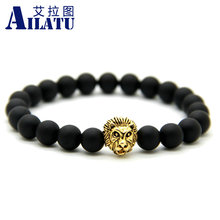 Ailatu 10 Pieces New Design 8 mm Matte Onyx  Stone Beads with High Quality Plated Lion Head Men Bracelet
