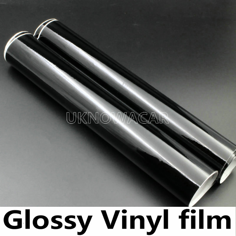 High Quality Glossy Vinyl Film Glossy Black Wrap Bubble Free Car Wrapping For Motorcycle Car Stickers Accessories Styling(China (Mainland))