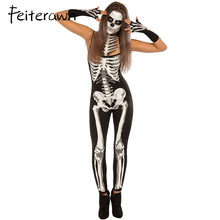2017 Halloween Female Demon Devil Cosplay Costumes Black Terrible Skeleton Skull Printed Jumpsuit Adult Ghosts Vampire Cosplay