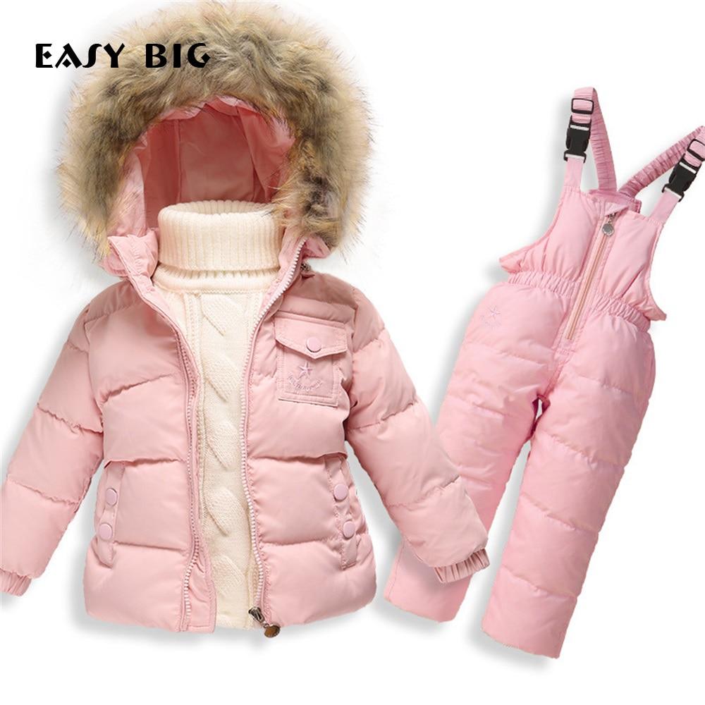 EASY BIG Winter Warm Hooded Children Down Jacket Sets For Girls Unisex Children Parkas Jacket Sets For Boys CC0126<br>