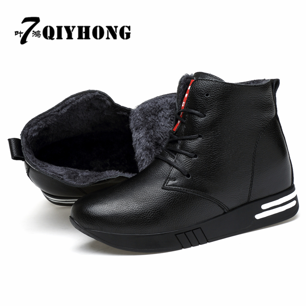 QIYHONG Brand Zapatos Mujer Winter Boots Warm Plush Ladies Leather Snow Tronchetti E Stivaletti Donna Tacco Alto  Boots Women<br>