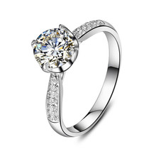 1CT Lovely Design 18K White Gold Ring Clear VVS1 Diamond Au750 Gold Female Finger Ring Forever Lasting Quality