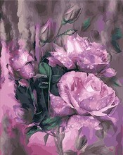 MaHuaf-X653 Framed Vintage Painting DIY coloring By Numbers purple rose Acrylic Picture Canvas Wall Unique Gift for Home Decor