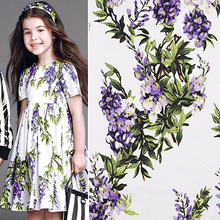 Chinese Flower Fabrics Density Stretch Poplin 100%Cotton Fabric Patchwork Rattan Flower Printed Fabric Diy Sewing Girl Dress(China)