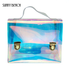 SUNNY BEACH Fashion Transparent Hologram laser Tote Bag Women holographic Bag School Bag PVC Clear Beach Bag Satchels(China)