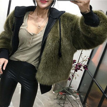 Boyfriend V neck Long Hairy Shaggy Faux Fox Fur Jackets Winter Woman Army Green Loose Faux Fur Coat Outerwear