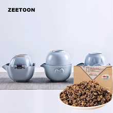 Portable Travel Tea Set Coarse Pottery Quick Cup 1 Teapot + 1 Cup + 1 Bag + 500g Yunnan Dianhong Black Tea Red Biluochun Oolong(China)