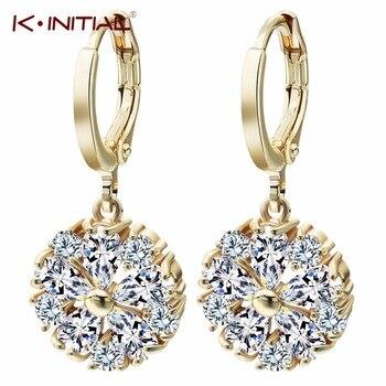 1Pair New Clear Flower Zircon Inlay Statement Ball Drop Earrings Water Drop Earring Accessories Jewelry For Women Bijoux Femme