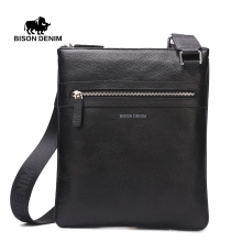 BISON DENIM Men's Shoulder Bag Genuine Leather Satchel iPad Tablet Messenger Bag black thin soft casual male bag N2424-1B