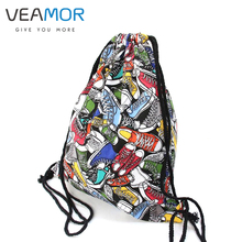 VEAMOR Girls Shoulder Bags Women Canvas Hamburg Shoes Drawstring Backpacks Shoulder Travel Shoes Bags Storage Bags B294