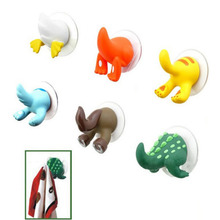 1PCS Creative cute cartoon animal tail hook trace rubber sucker key hanger holder hook bathroom wall hooks gancho de parede(China)