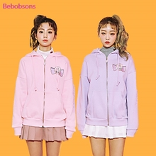 Korean Hooded Women Autumn Outwear Female Casual Jacket Loose Cotton Tracksuits Rabbit Print 2017 New Zip-up Sweatshirts Coat(China)