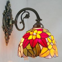 Direct manufacturers exporting European style wall lamp antique Tiffany bedside lamps balcony staircase lighting glass(China)