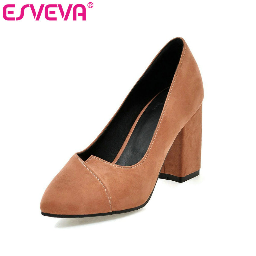 ESVEVA 2017 Square High Heel Woman Pumps Slip on Flock Wedding Women Shoes Western Pointed Toe Spring Autumn Shoe Big Size 34-43<br><br>Aliexpress