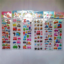 6 Sheets Set Cartoon Car Stickers 3D Foam Waterproof Decal Bubble sticker Laptop Doodle Diary Decor Skateboard Pvc toys for Kids