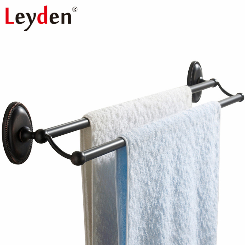 Leyden Double Towel Rail Wall Mounted Towel Bar Brass Classical Oil Rubbed Bronze Towel Rack ORB  Round Base Bathroom Accessory<br>