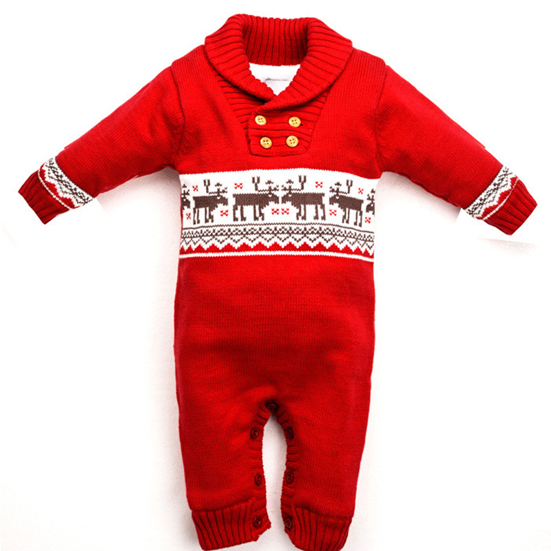 Newborn Baby Warm Sweater Romper Winter Thick Knitted  Rompers Newborn Boys Girls Jumpsuit Christmas Deer Outwear Clothing<br>
