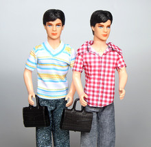 "1 Pc Solid Ken doll 12"" Tall/ with Clothing Set Shoes Bag / for Barbie Boy Bridegroom Doll Birthday Gift Baby Toy Free Ship 2017"