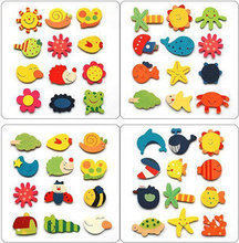 48PCS/LOT.Mixed design wood cartoon animal fridge magnet,Kids toys,Early development toys,Home decoration,Learning toys,(China)