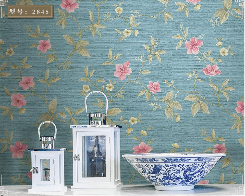 beibehang Modern Chinese nonwoven 3d wallpaper Pastoral retro floral bedroom living room entrance background wallpaper tapety <br>